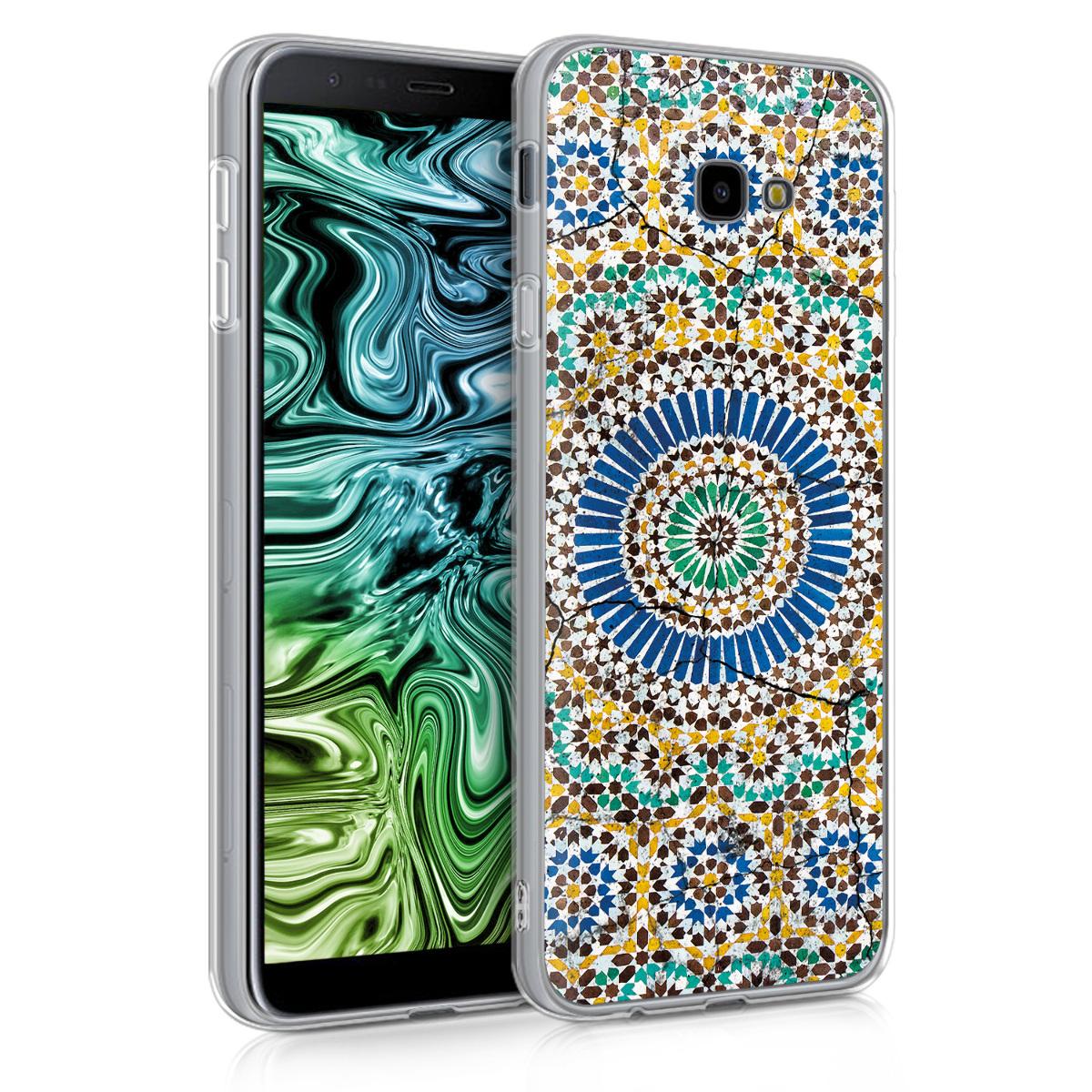 Kvalitní silikonové TPU pouzdro pro Samsung J4+ | J4 Plus DUOS - Marocký Vibes modré / oranžová / tyrkysová