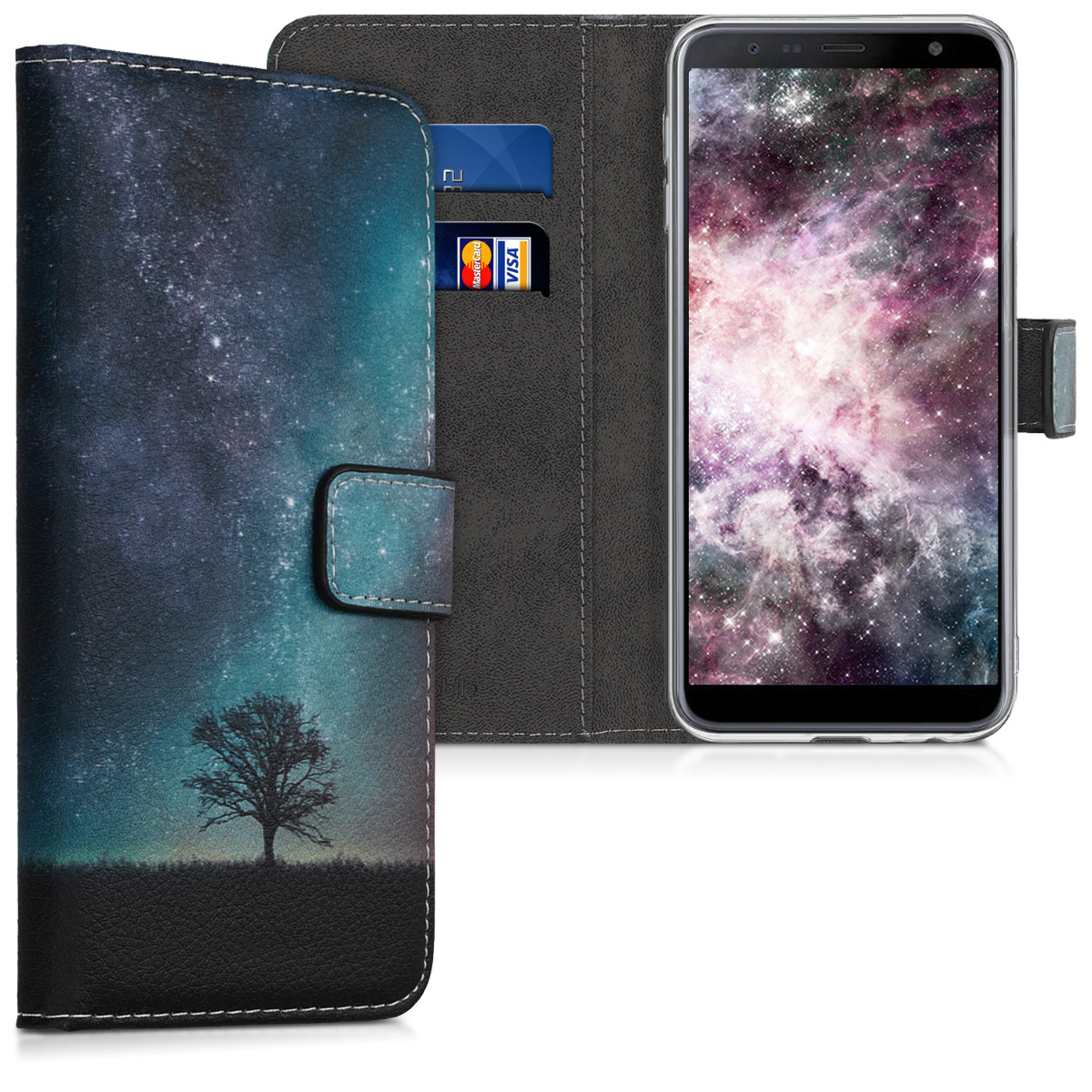 Kožené pouzdro pro Samsung J6+ | J6 Plus DUOS - kosmické přírodní modré / šedé / černé
