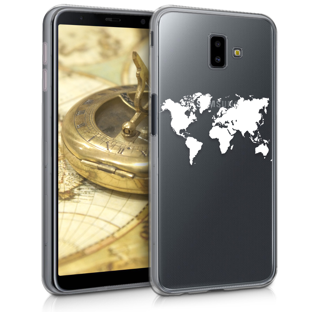 Kvalitní silikonové TPU pouzdro pro Samsung J6+ | J6 Plus DUOS - Travel Outline bílé / transparentní