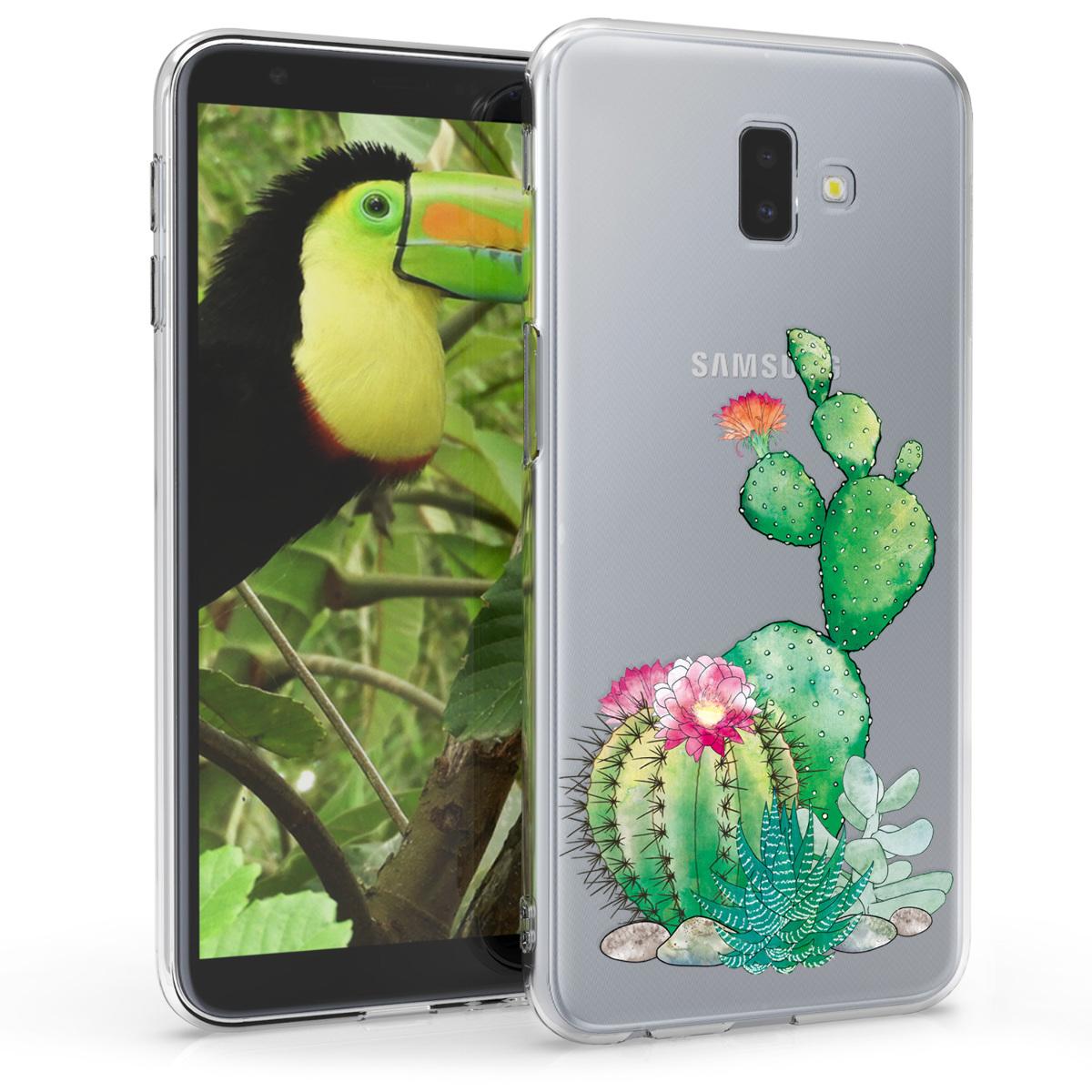 Kvalitní silikonové TPU pouzdro pro Samsung J6+ | J6 Plus DUOS - Cactus Bloom zelená / tmavě růžová / transparentní