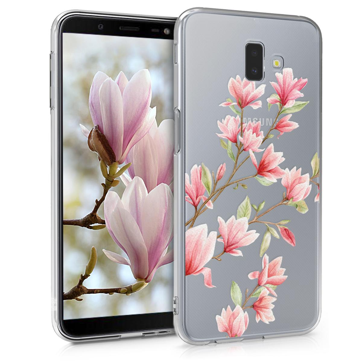Kvalitní silikonové TPU pouzdro pro Samsung J6+ | J6 Plus DUOS - Magnolie růžové / bílé / transparentní