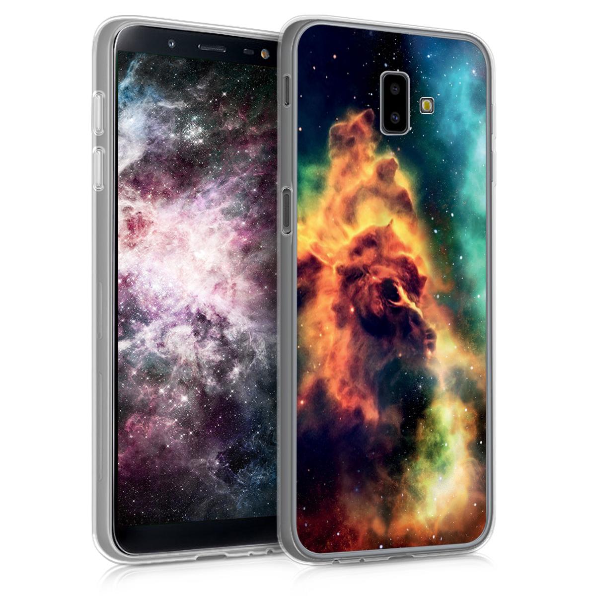 Kvalitní silikonové TPU pouzdro pro Samsung J6+ | J6 Plus DUOS - kosmické Galaxy oranžové / tmavě modré / černé
