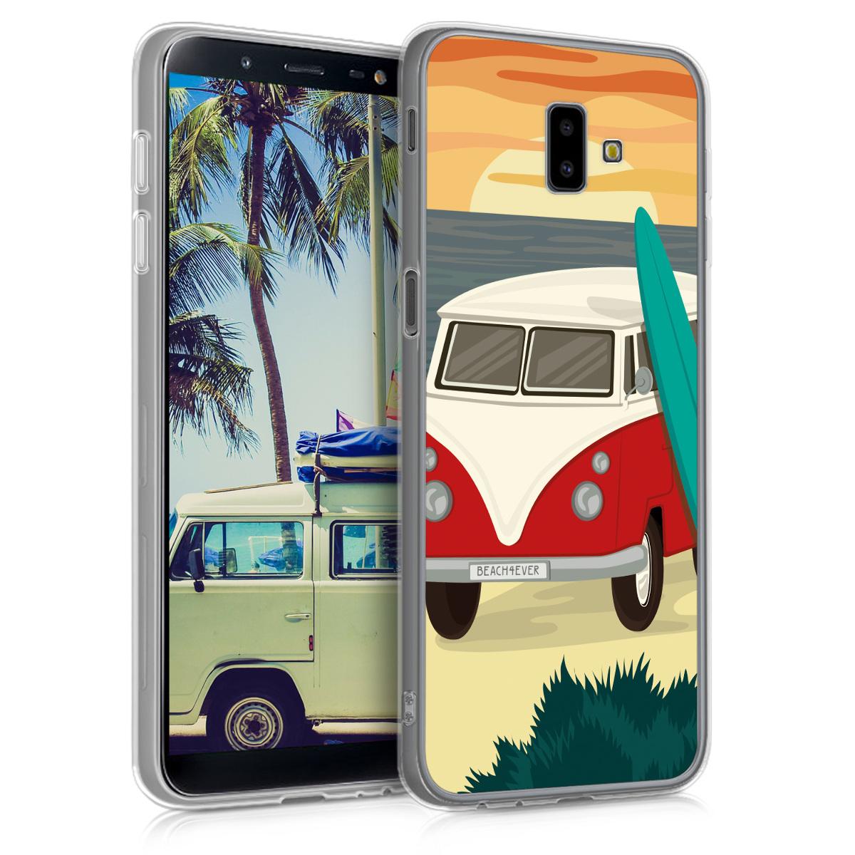 Kvalitní silikonové TPU pouzdro pro Samsung J6+ | J6 Plus DUOS - Campervan Paradiso červené / tyrkysové / oranžové
