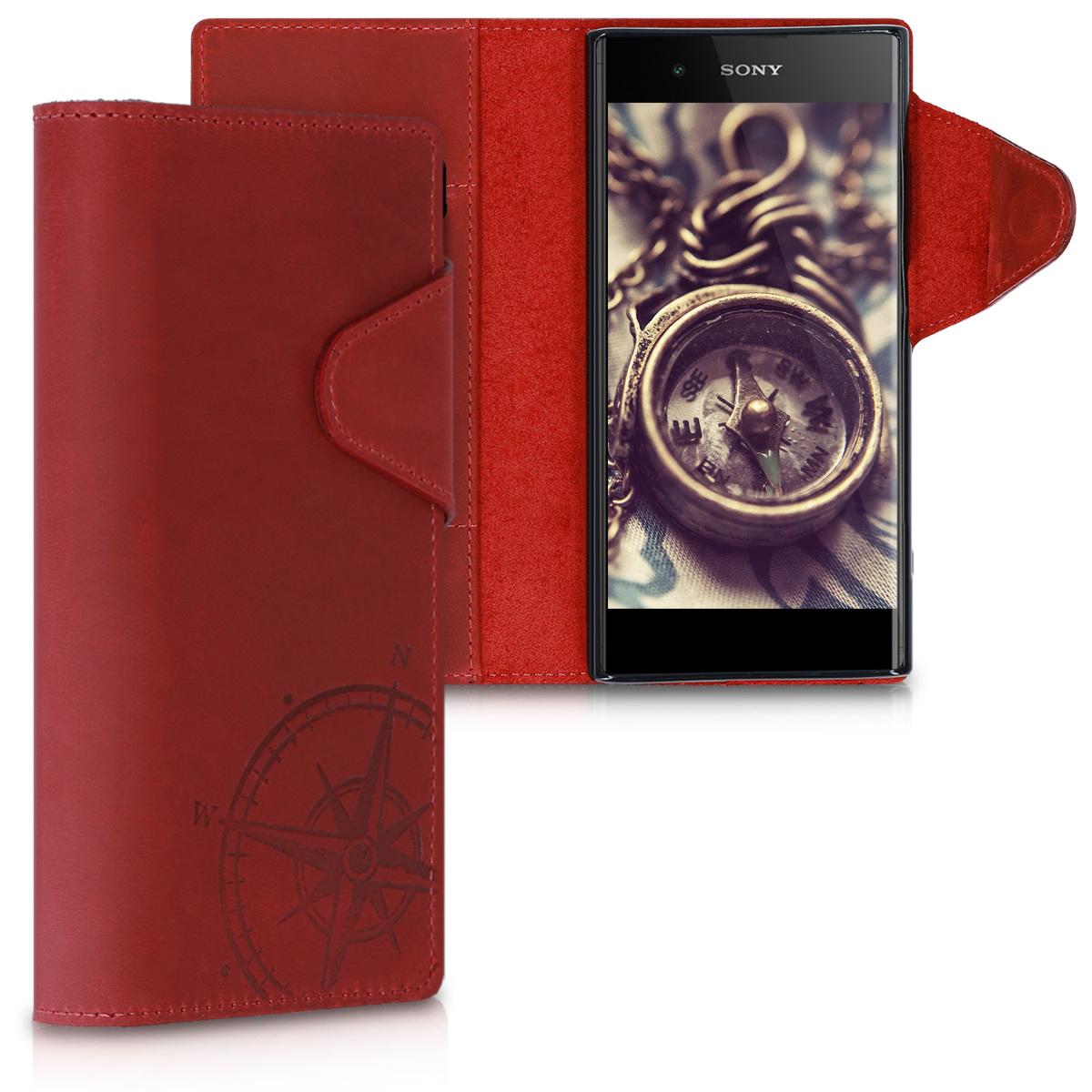 Kožené pouzdro | obal pro Sony Xperia XA1 Plus - Navigační kompas tmavě červená