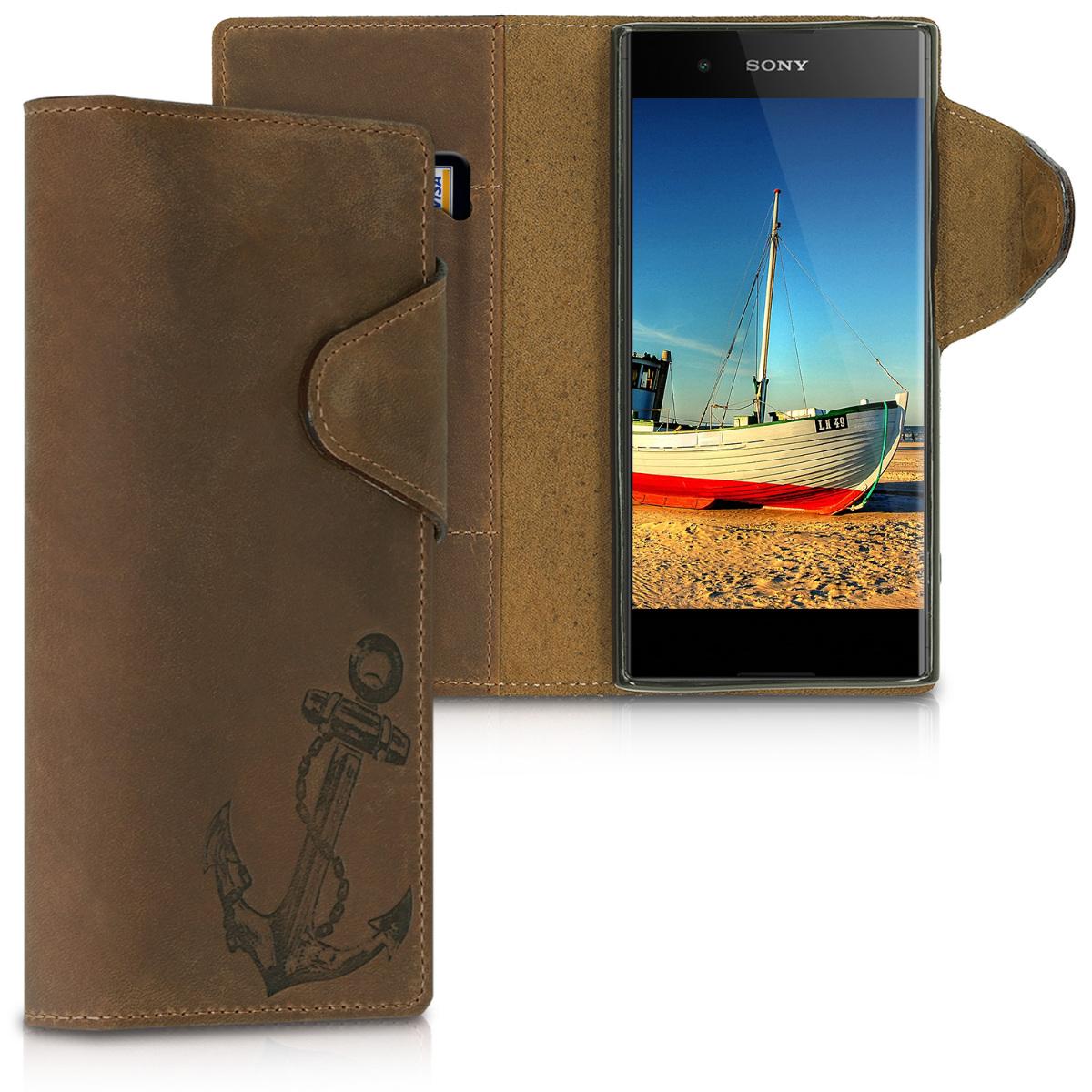 Kožené pouzdro | obal pro Sony Xperia XA1 Plus - Vintage Anchor hnědé