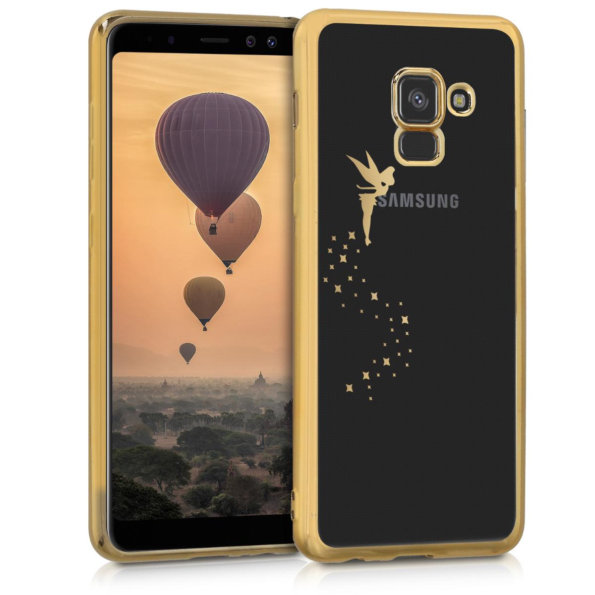 Kvalitní silikonové TPU pouzdro pro Samsung A8 (2018) - Víla Gold / transparentní
