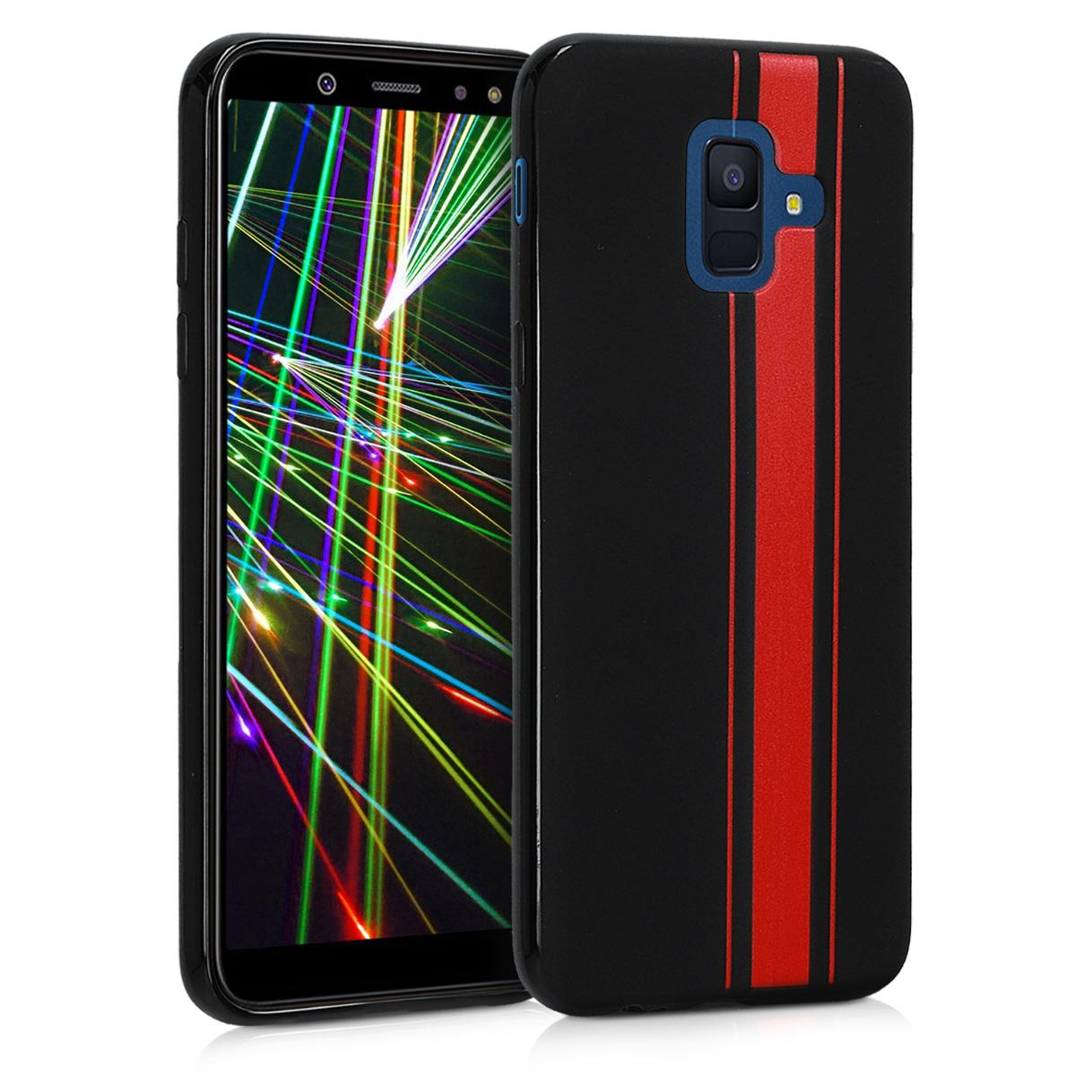 Kvalitní silikonové TPU pouzdro pro Samsung A6 (2018) - Rally Stripe červené / černé