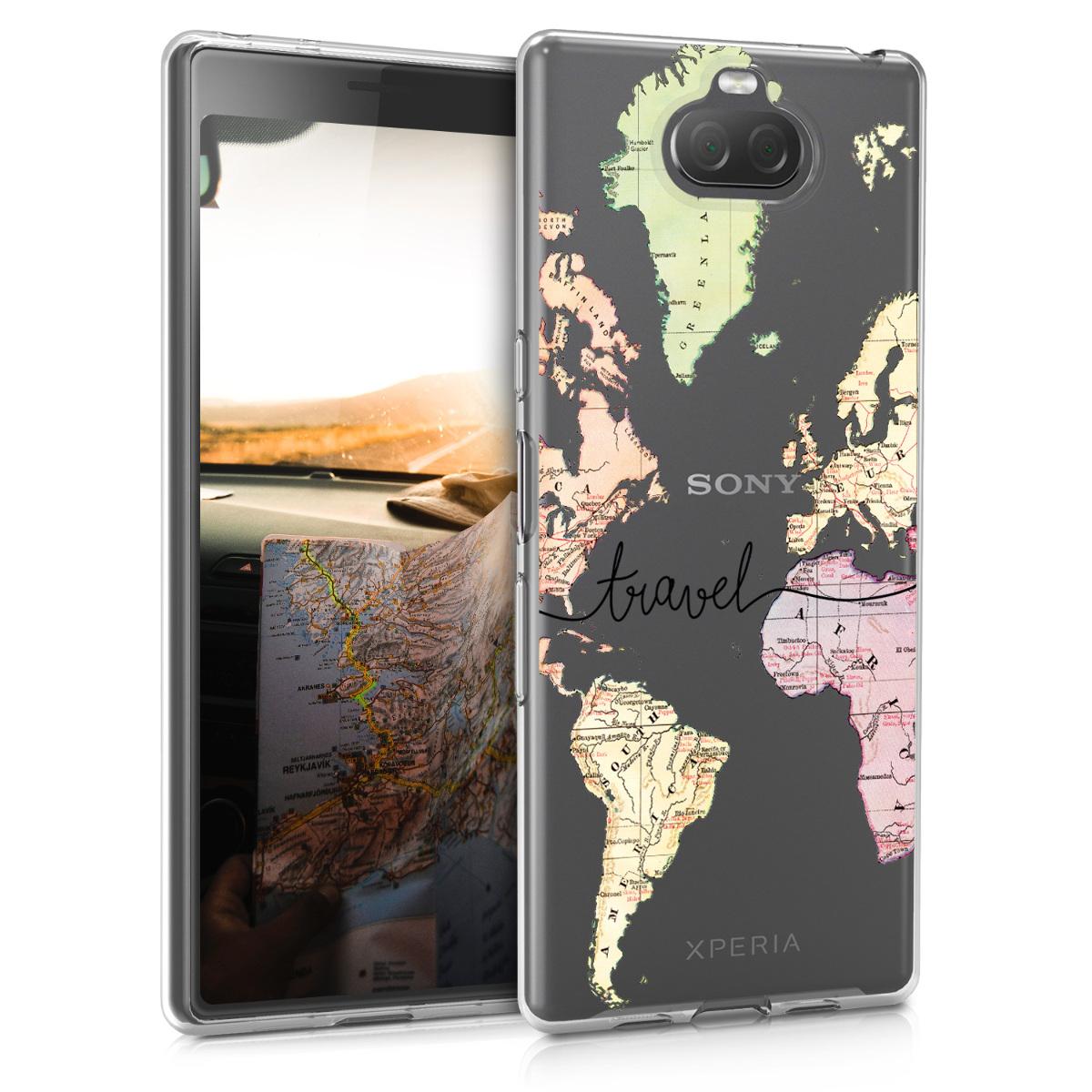 Kvalitní silikonové TPU pouzdro | obal pro Sony Xperia 10 - Travel černé / Multicolor / průhledné