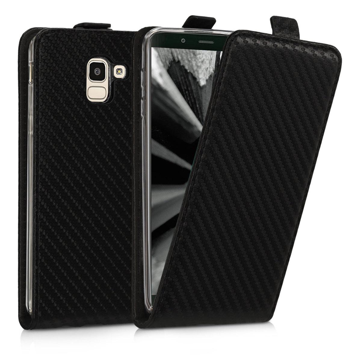 Kožené pouzdro pro Samsung J6 - Carbon černé