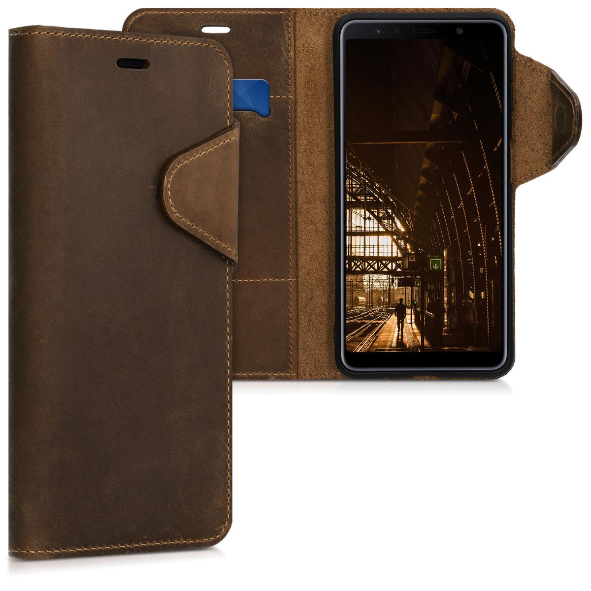 Kožené pouzdro pro Samsung A7 (2018) - hnědé