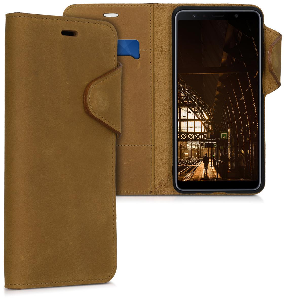 Kožené pouzdro pro Samsung A7 (2018) - světle  hnědá