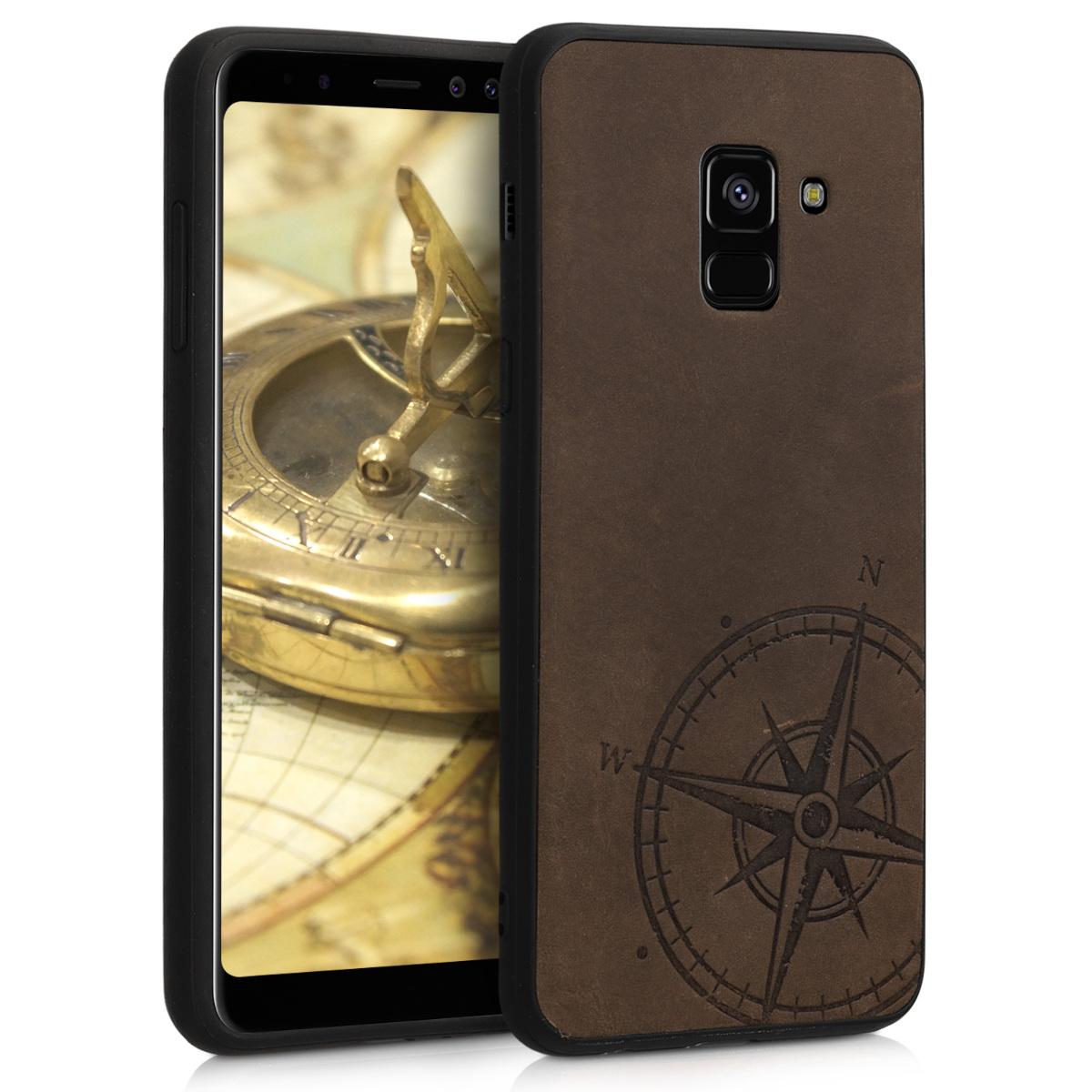 Kožené pouzdro pro Samsung A8 (2018) - Navigační Compass Brown