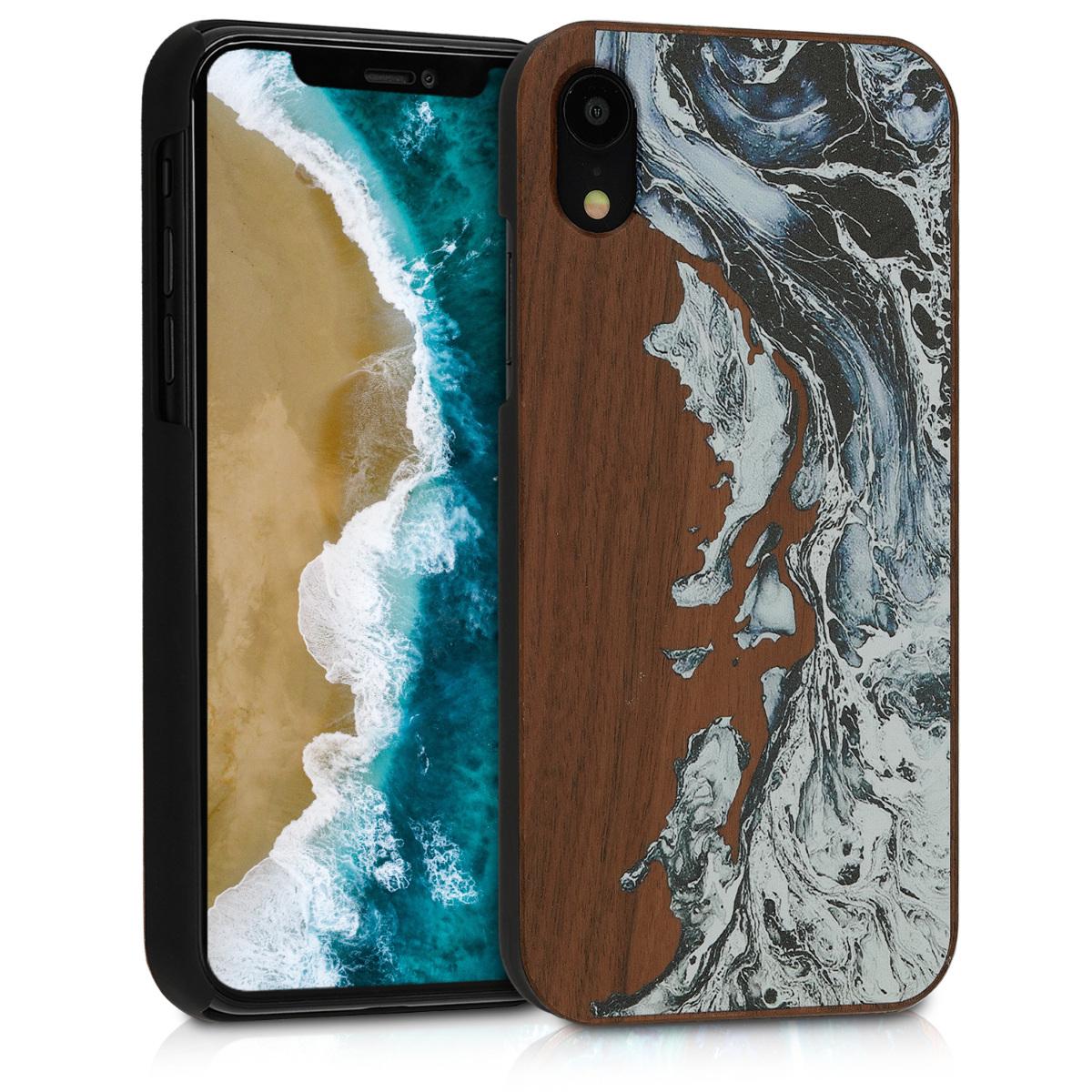 Dřevěné pouzdro pro Apple iPhone XR - Akvarel Waves White | Black | Brown