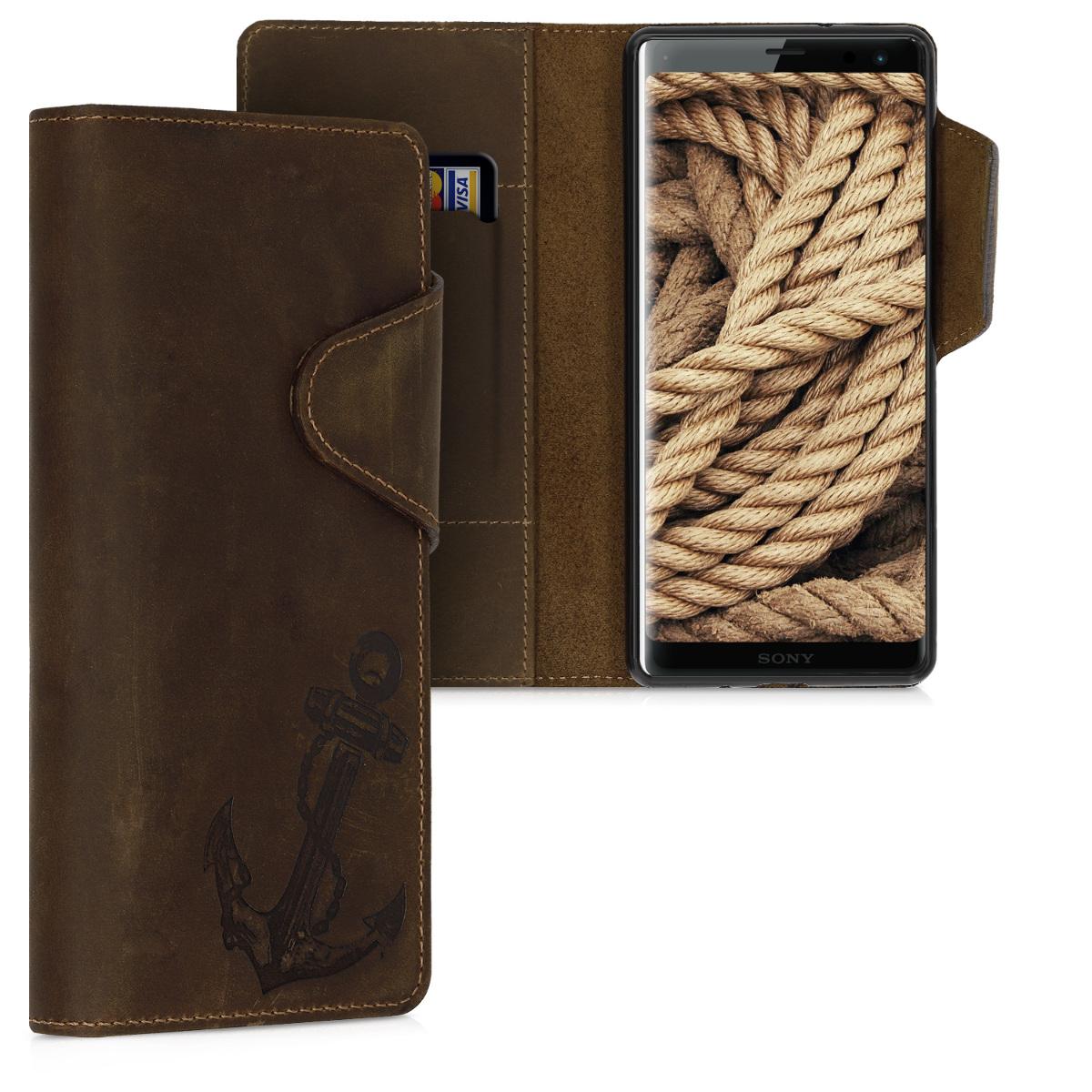 Kožené pouzdro | obal pro Sony Xperia XZ3 - Vintage Anchor hnědé