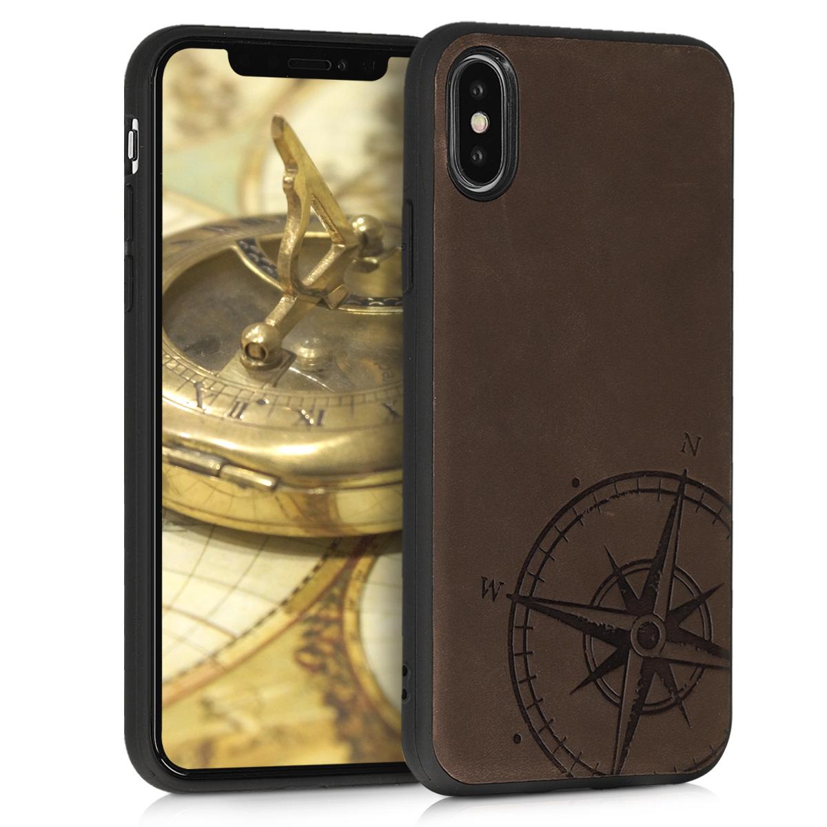 Kožené pouzdro pro Apple iPhone X - Navigační Compass Brown