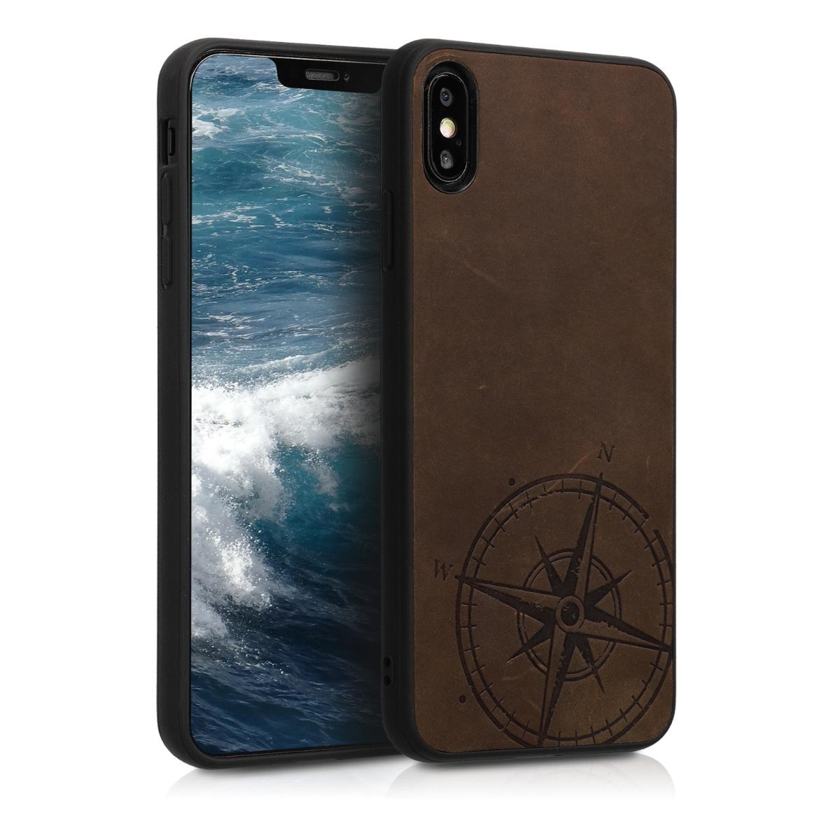 Kožené pouzdro pro Apple iPhone XS Max - Navigační Compass Brown