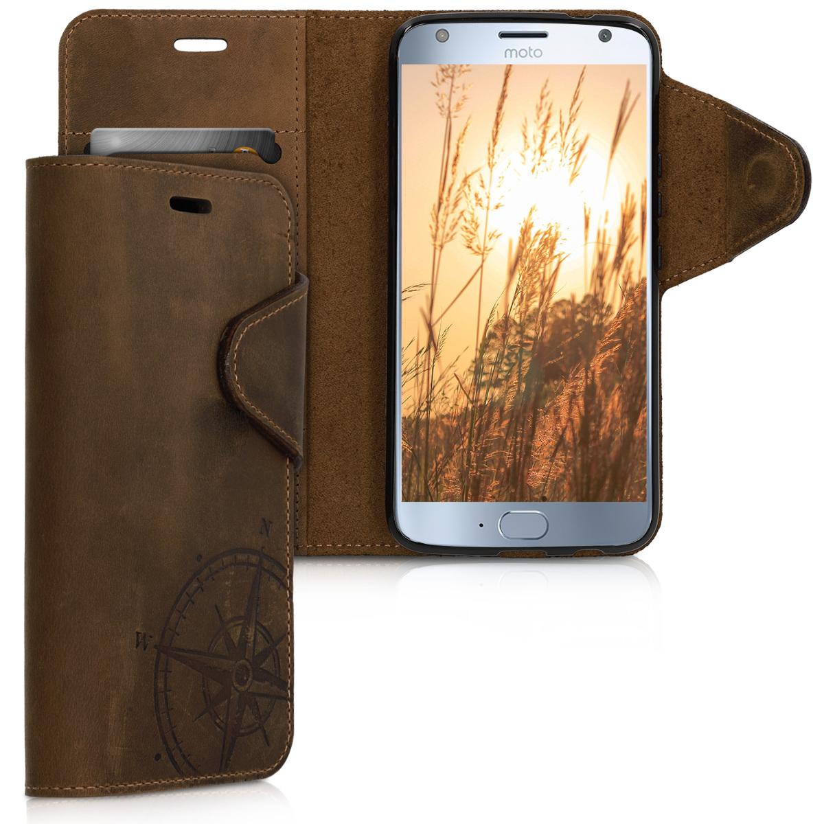 Kožené pouzdro | obal pro Motorola Moto X4 - Navigační kompas Hnědá