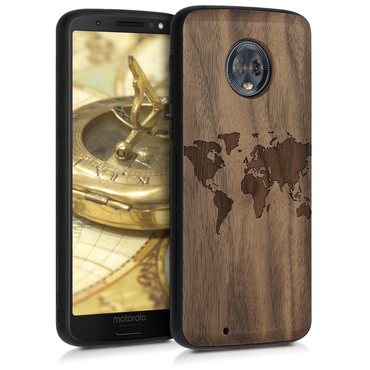 Dřevěné pouzdro | obal pro Motorola Moto G6 - Cestovní obrys Tmavě hnědá