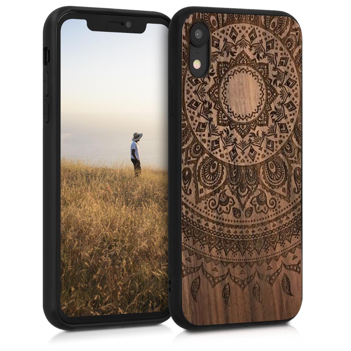 Dřevěné pouzdro pro Apple iPhone XR - Indické Sun Dark Brown