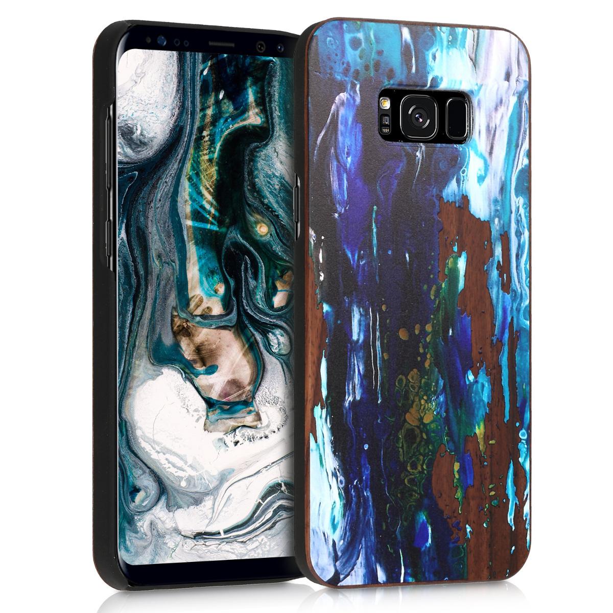 Dřevěné pouzdro pro Samsung S8 Plus - Akvarel Vlny modré / tmavě modré / hnědá