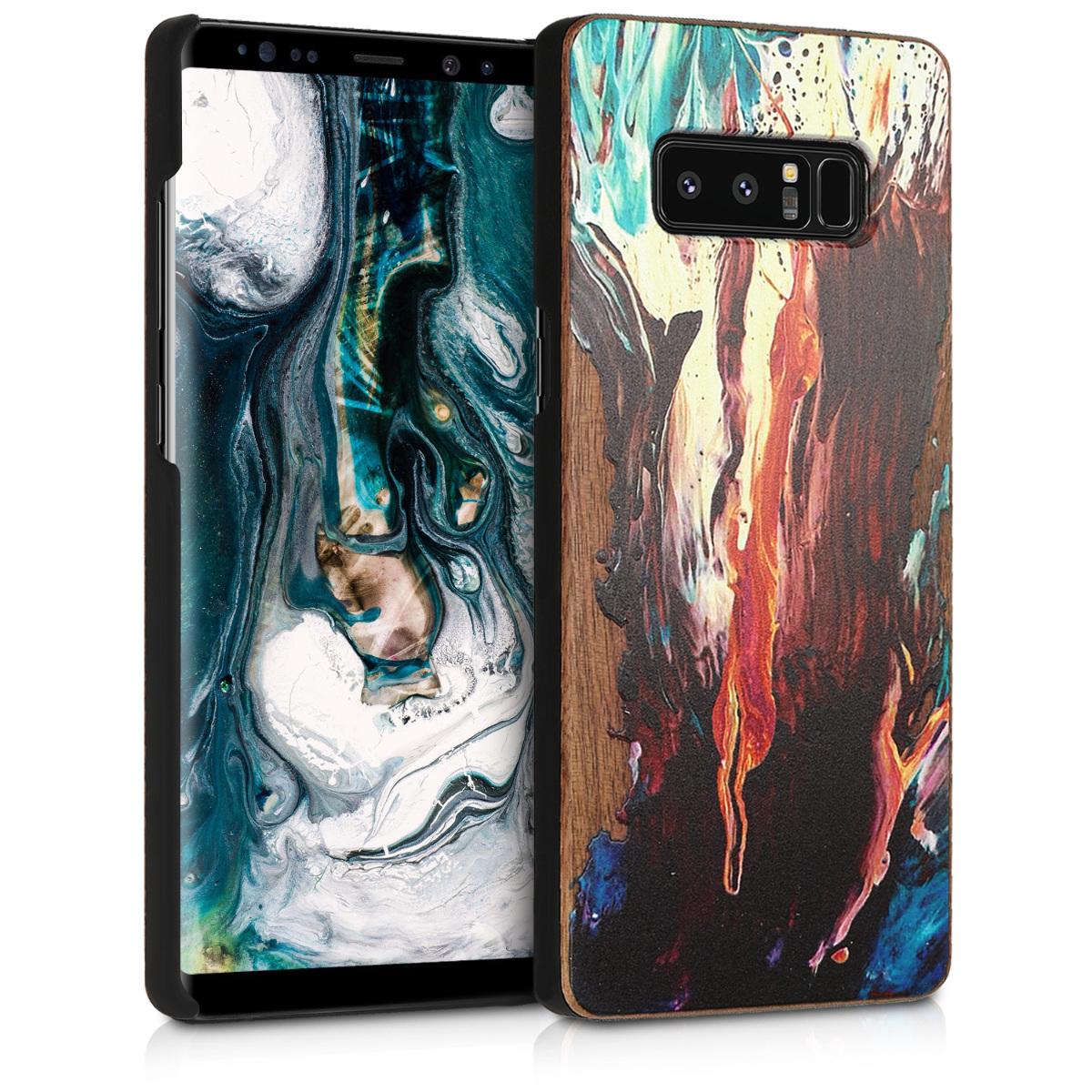 Dřevěné pouzdro pro Samsung Note 8 DUOS - Akvarel Waves oranžové / tyrkysové / Brown
