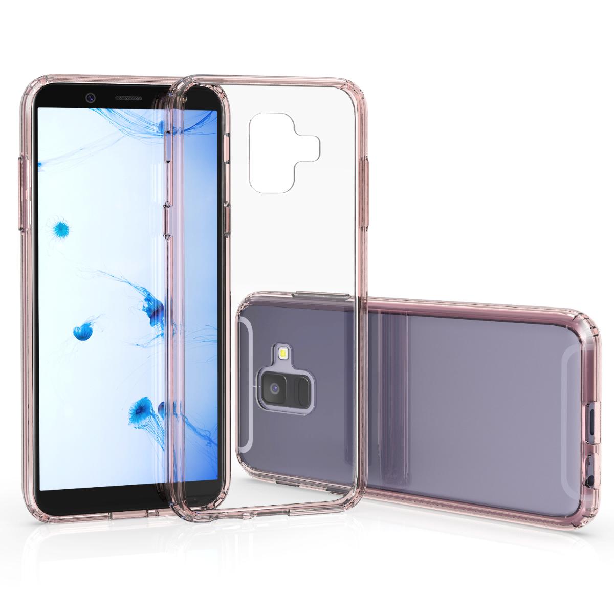 Kvalitní plastové pouzdro pro Samsung A6 (2018) - starorůžové rosegold / transparentní