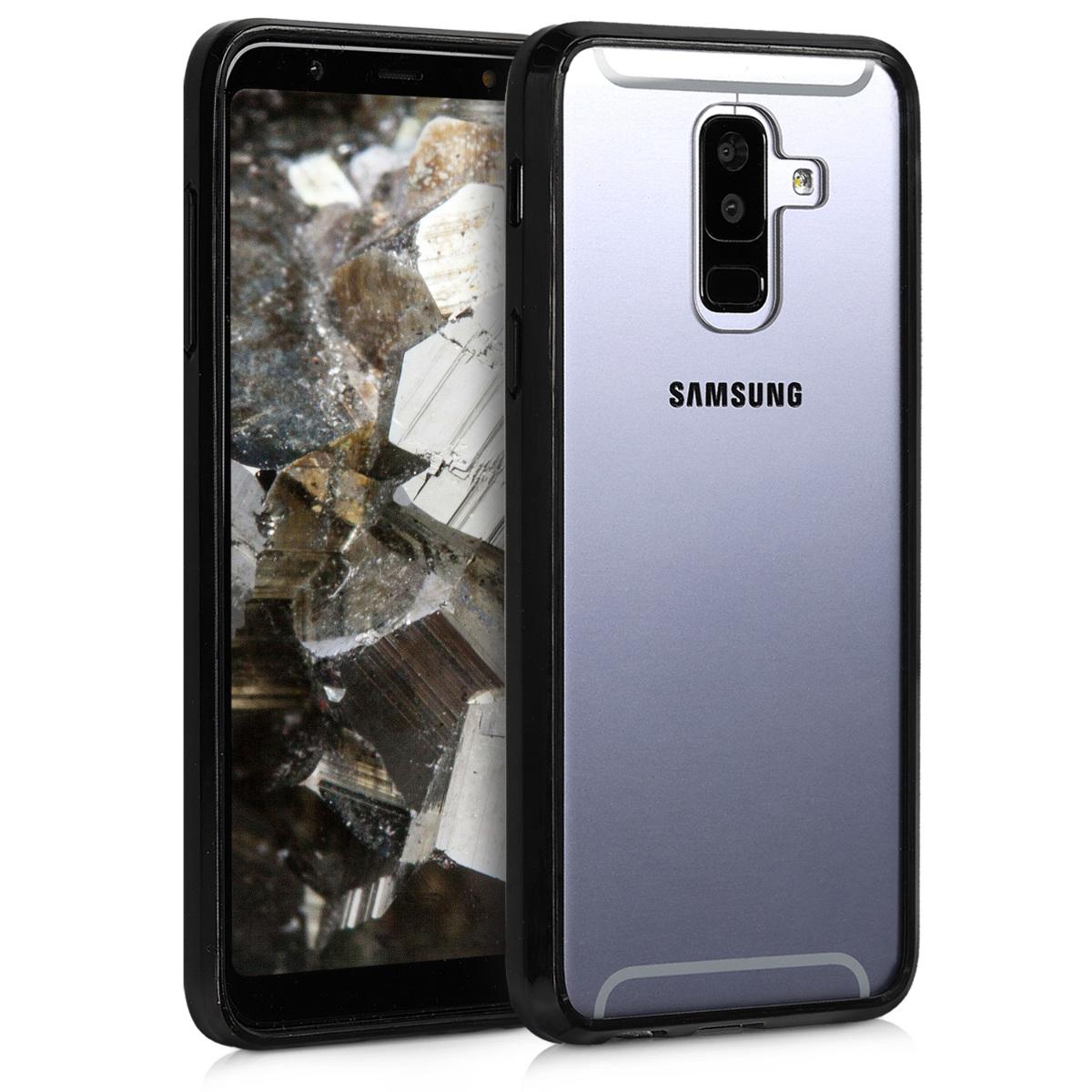 Kvalitní plastové pouzdro pro Samsung A6+|A6 Plus (2018) - černé / transparentní