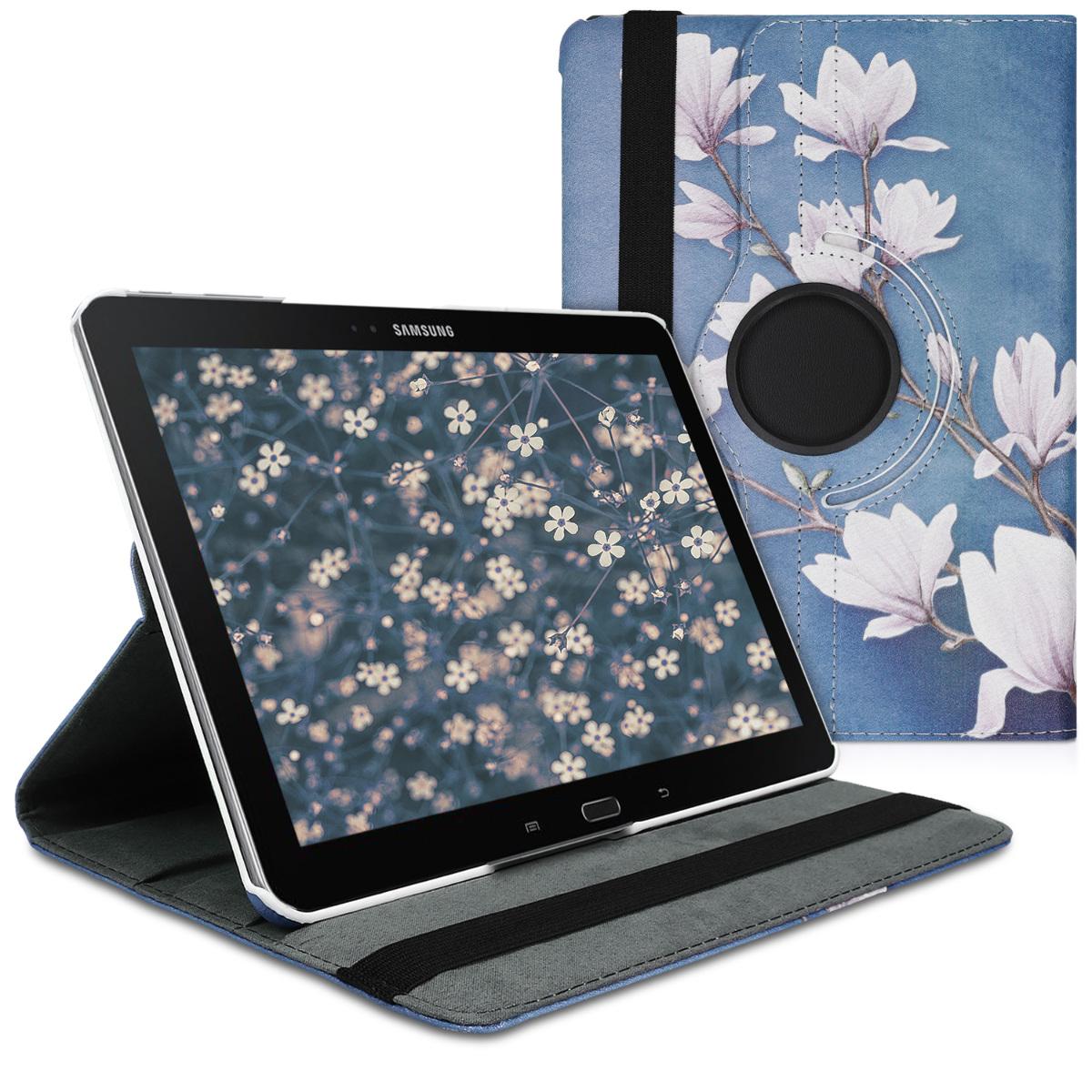 Kožené pouzdro pro Samsung Note 10.1 2014 Edition - Magnolie Taupe / bílá / modré šedé