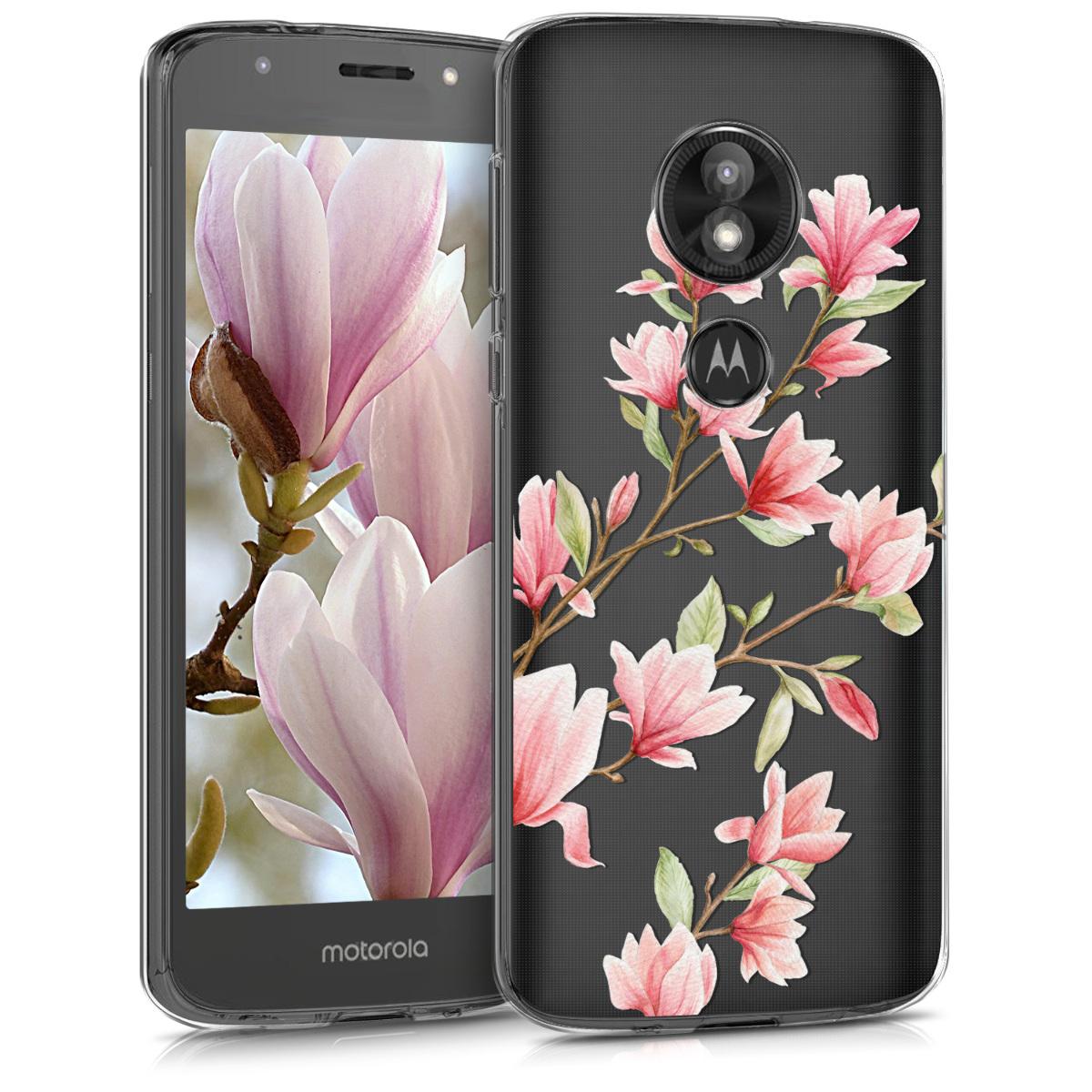 Kvalitní silikonové TPU pouzdro   obal pro Motorola Moto E5 Play (US-Version) - Magnólie Růžová / Bílá / Průhledná