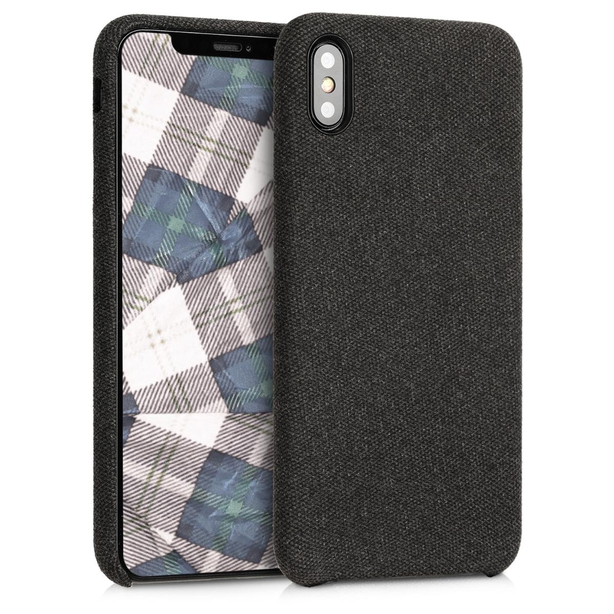 Černé textilní látkové pouzdro   obal pro Apple iPhone XS