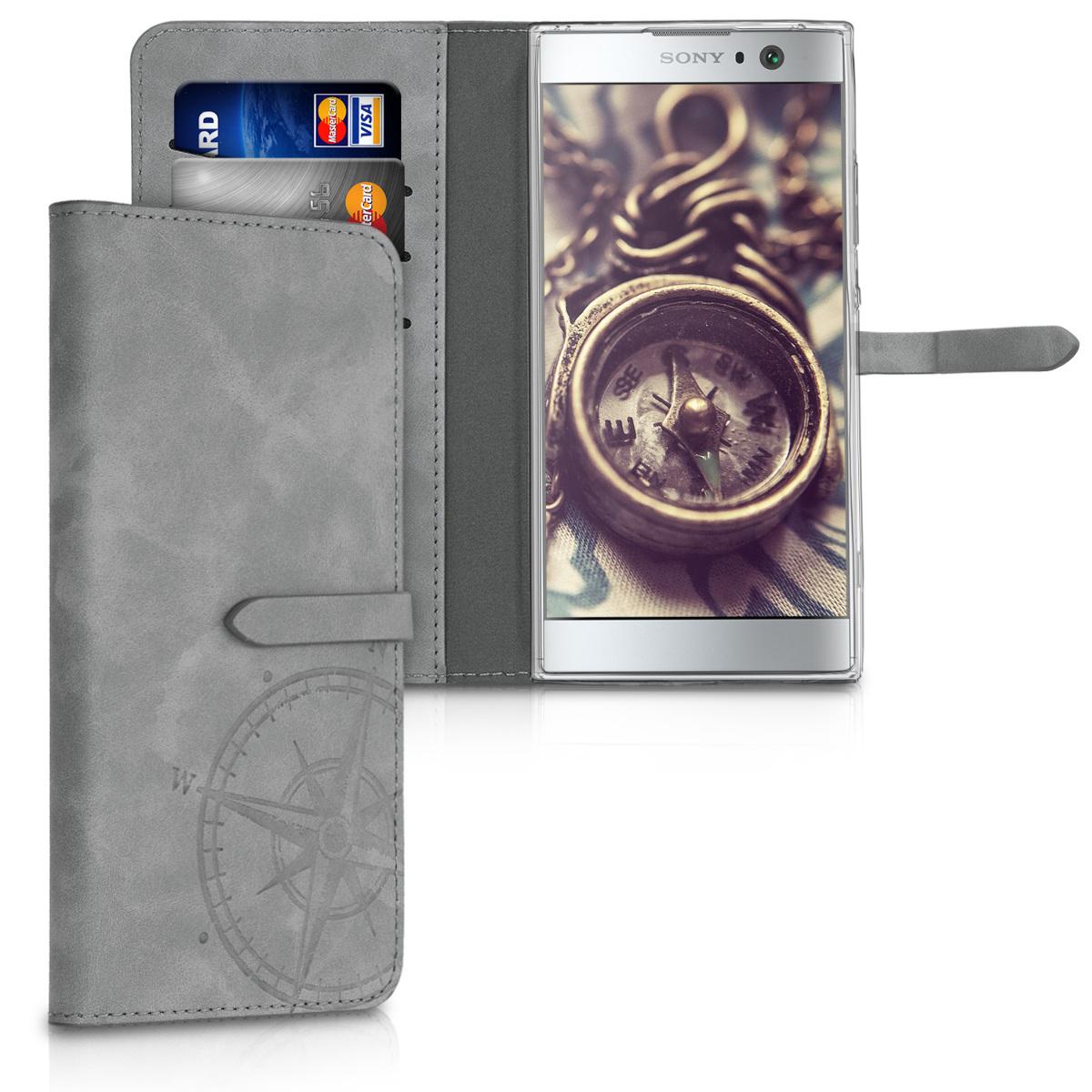 SyntheticNubukLeatherpouzdro | obal pro Sony Xperia XA2 - Navigační kompas Gray
