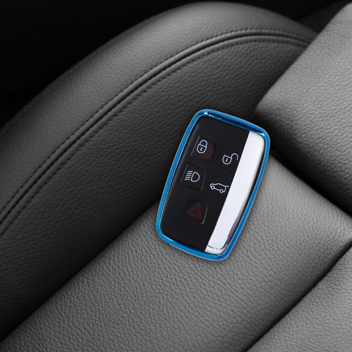Silver//Metallic Silver Soft TPU Silicone Protective Key Fob Cover for Land Rover Jaguar 5-Button Remote Car Key kwmobile Car Key Cover for Land Rover Jaguar