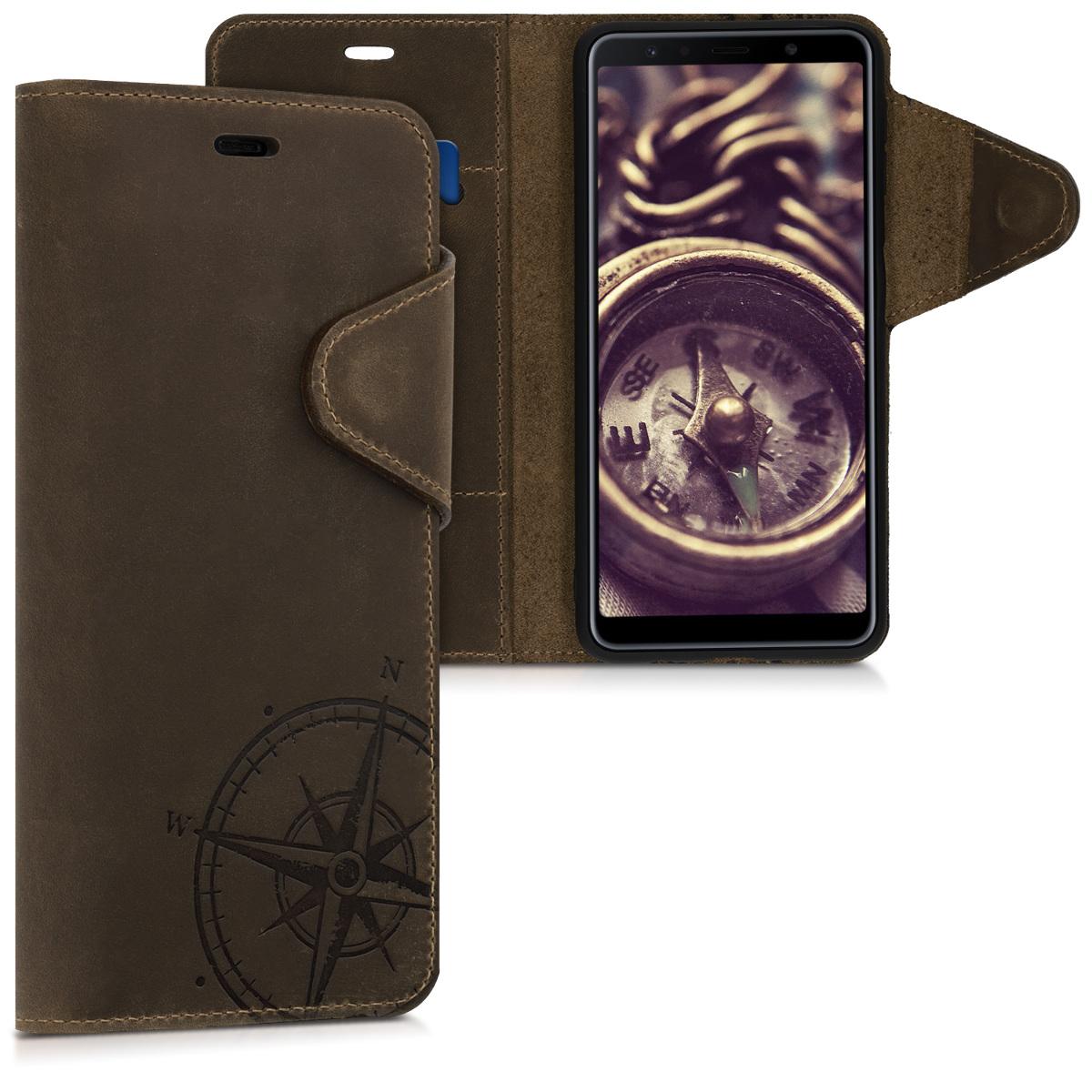 Kožené pouzdro pro Samsung A7 (2018) - Navigační Compass Brown