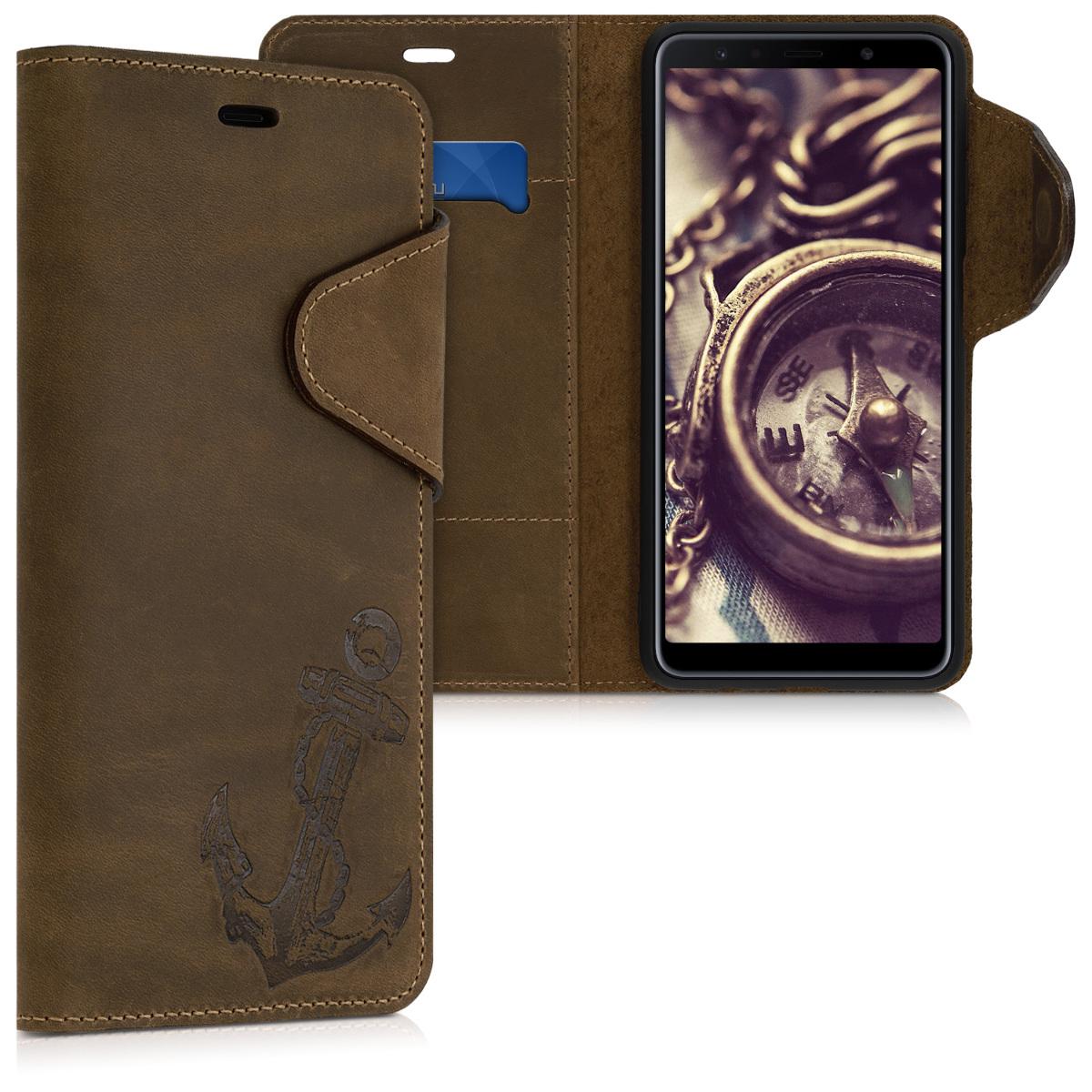 Kožené pouzdro pro Samsung A7 (2018) - Vintage Anchor Brown