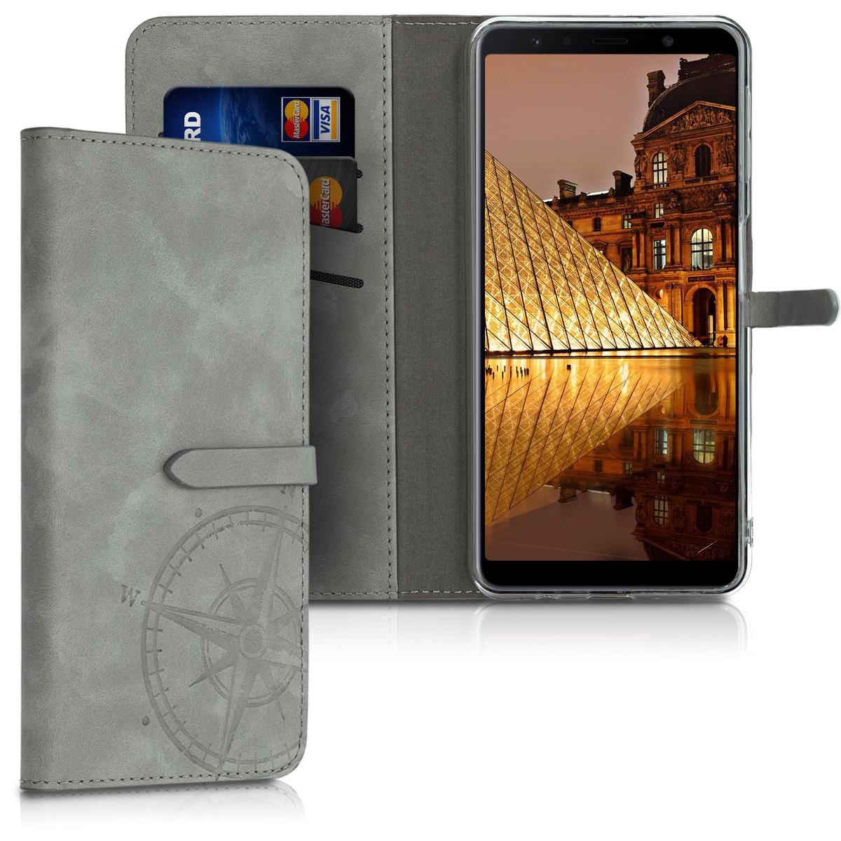SyntheticNubukLeatherpouzdro pro Samsung A7 (2018) - Navigační Compass šedé
