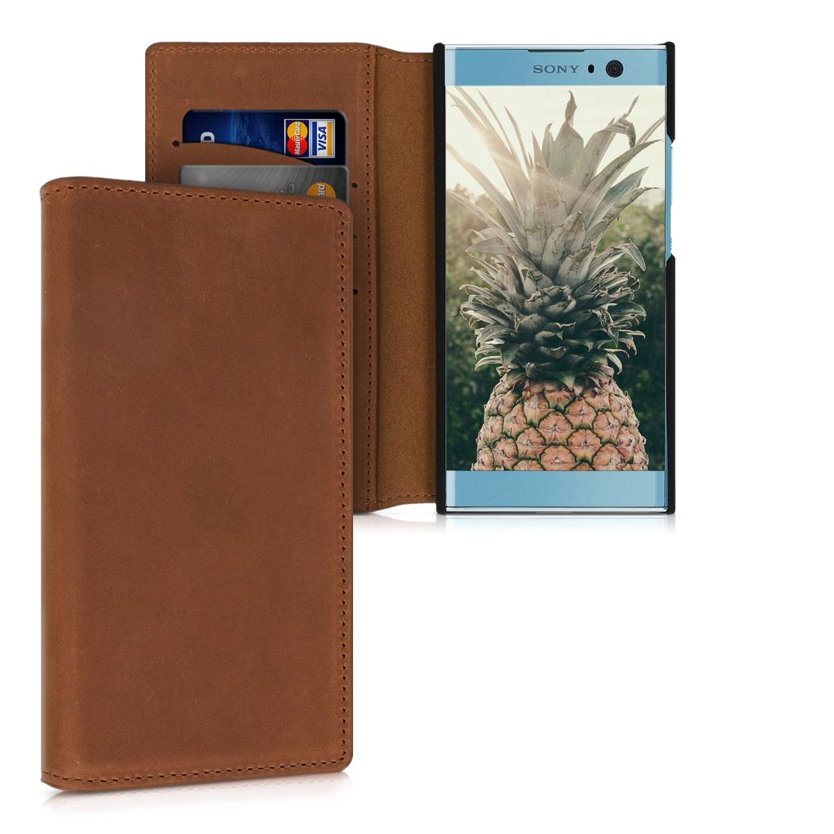 Kožené pouzdro | obal pro Sony Xperia XA2 - Koňak