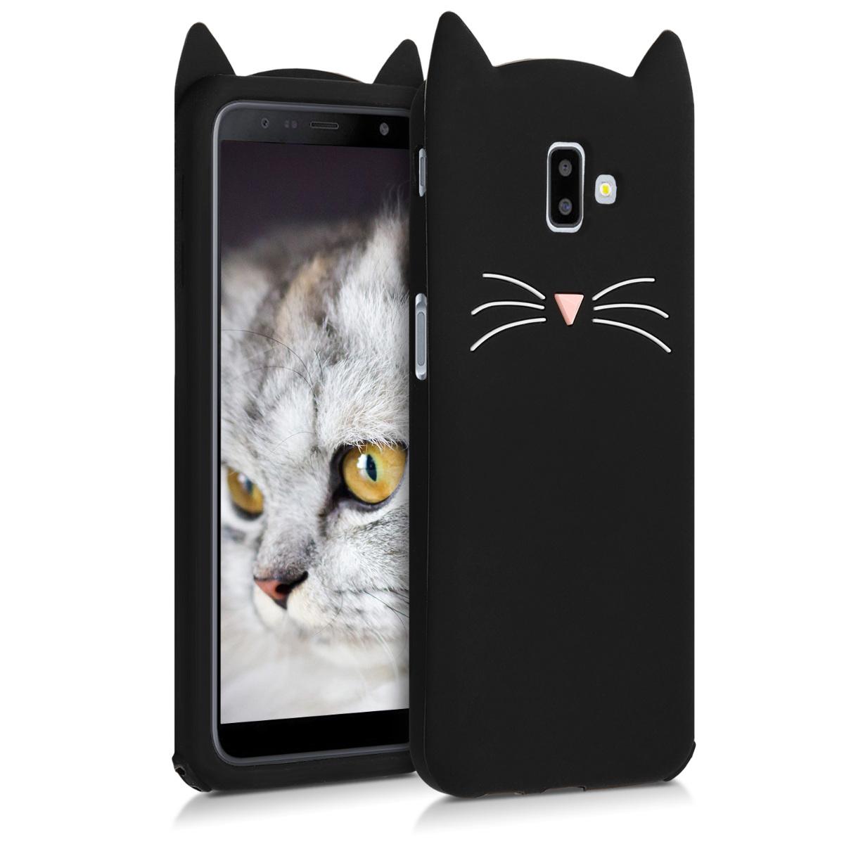 Černé silikonové kočička pouzdro | obal pro Samsung Galaxy J6+ / J6 Plus DUOS