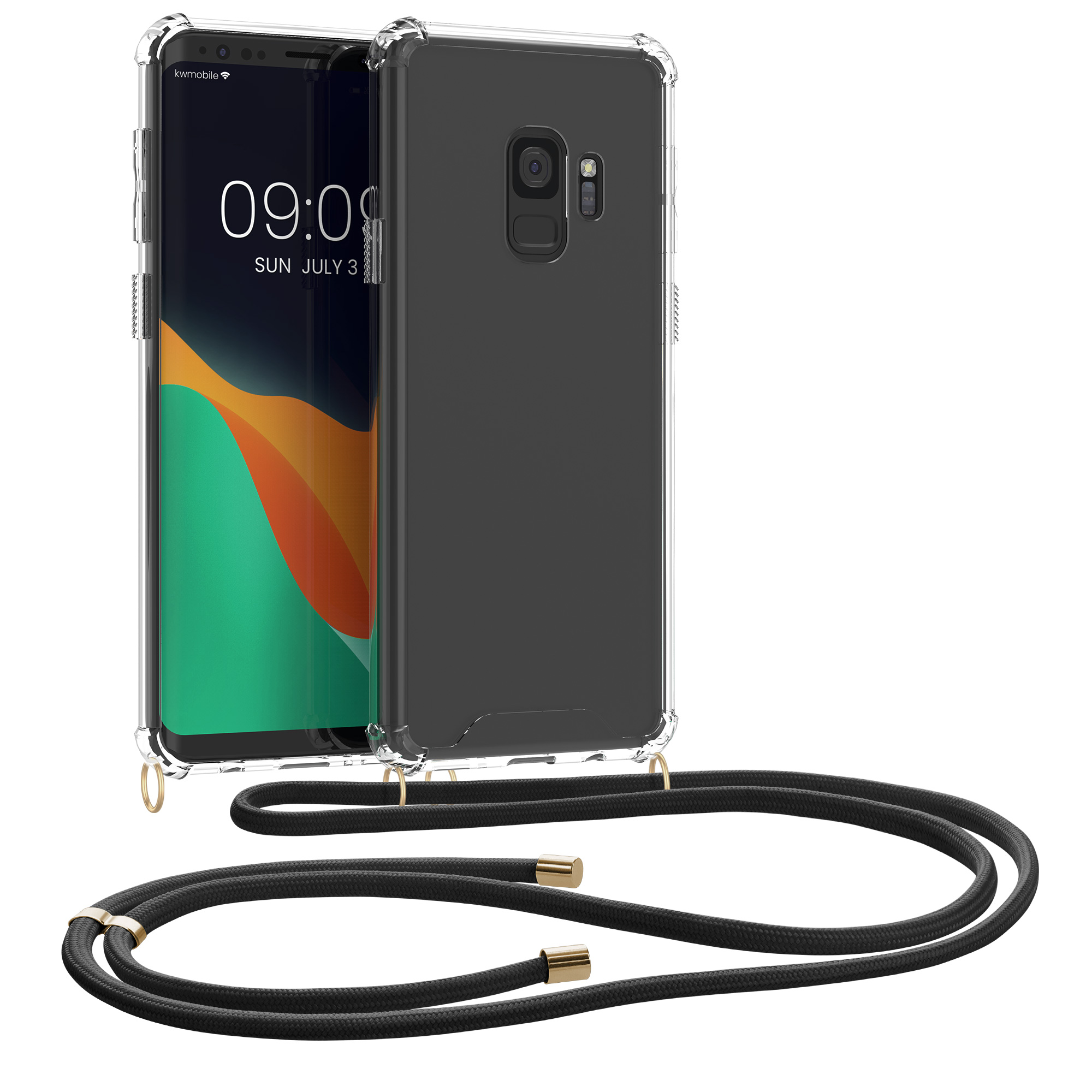 Pouzdro pro Samsung Galaxy S9 - Clear Transparent TPU Cell Phone Cover with Neck Cord Lanyard Strap - Transparent / Black