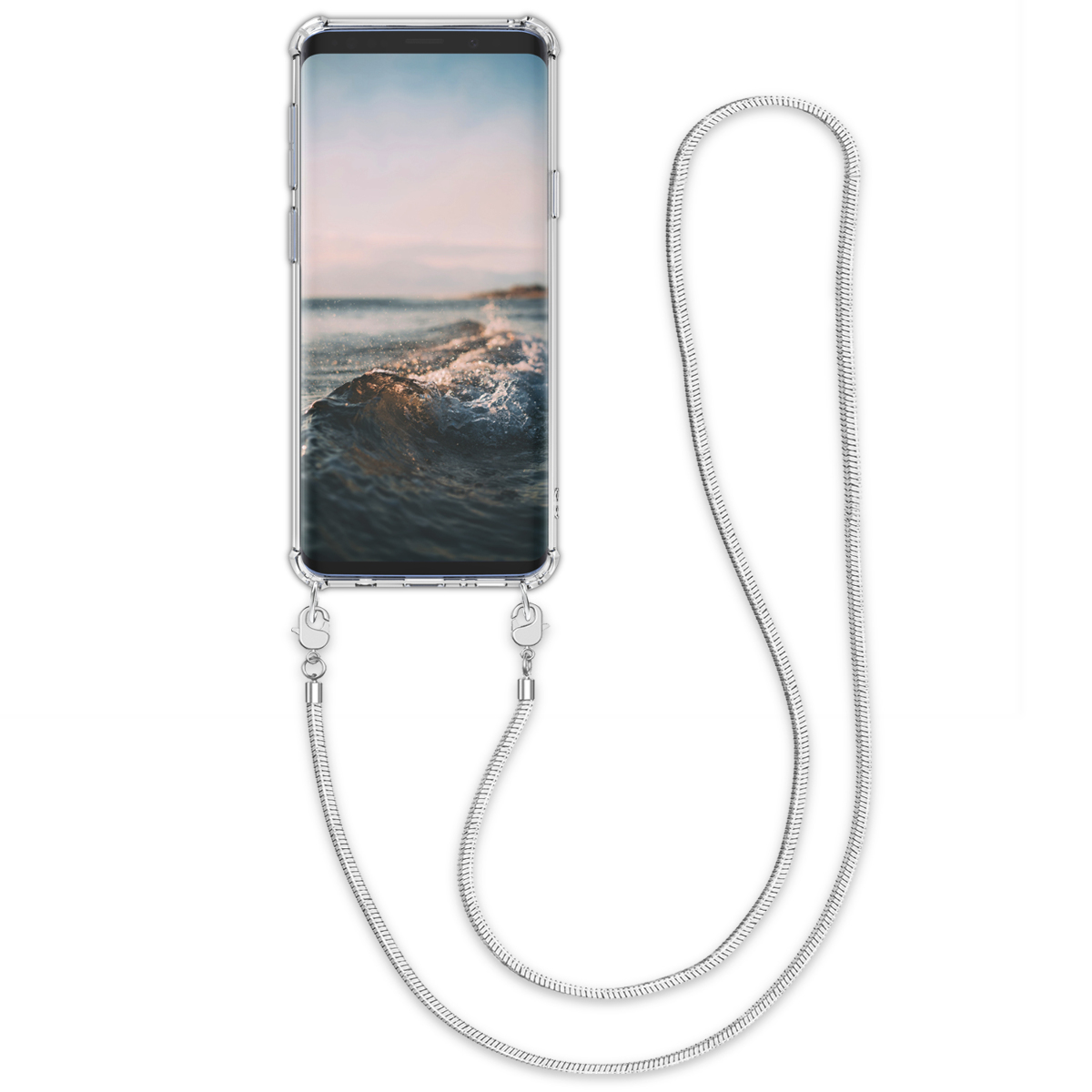 Pouzdro pro Samsung Galaxy S9 - Clear Transparent TPU Phone Cover Holder with Metal Chain Strap - Transparent / Silver