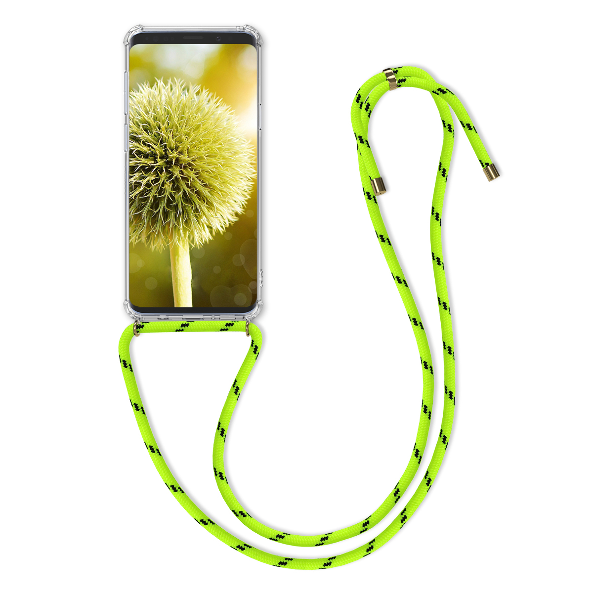 Pouzdro pro Samsung Galaxy S9 - Clear Transparent TPU Cell Phone Cover with Neck Cord Lanyard Strap - Neon Yellow / Transparent