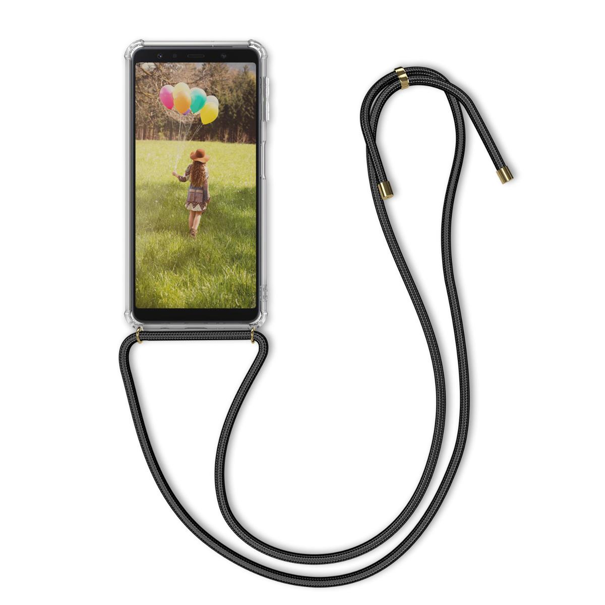 Kvalitní silikonové TPU pouzdro pro Samsung A7 (2018) - transparentní / černé