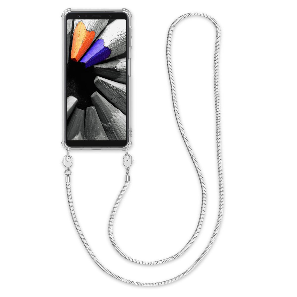 Kvalitní silikonové TPU pouzdro pro Samsung A7 (2018) - transparentní / stříbrné