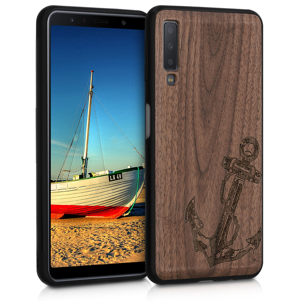 Dřevěné pouzdro pro Samsung A7 (2018) - Vintage Anchor Dark Brown