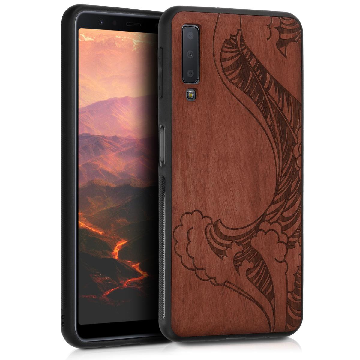 Dřevěné pouzdro pro Samsung A7 (2018) - Vlny Dark Brown