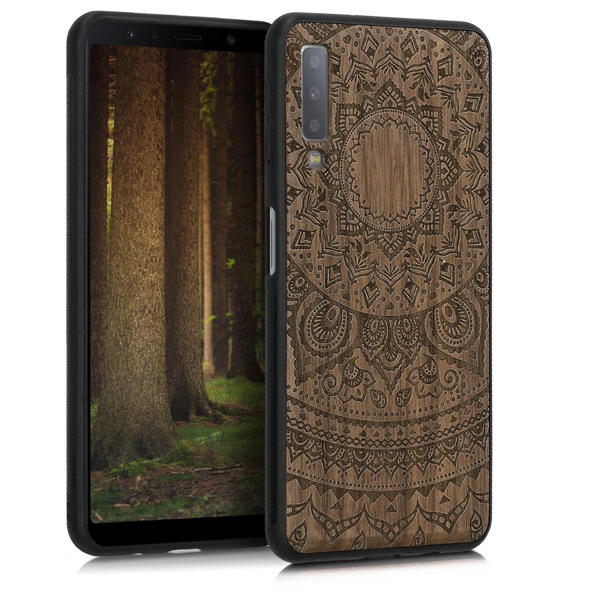 Dřevěné pouzdro pro Samsung A7 (2018) - indické slunce Dark Brown