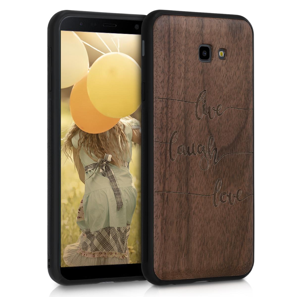Dřevěné pouzdro pro Samsung J4+ | J4 Plus DUOS - Žít, smích, láska tmavě hnědá