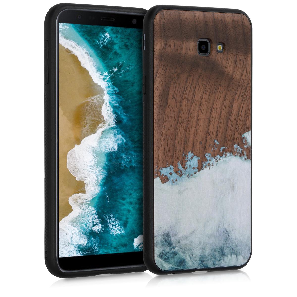 Dřevěné pouzdro pro Samsung J4+ | J4 Plus DUOS - Akvarel Waves světle  modré / bílé / Brown