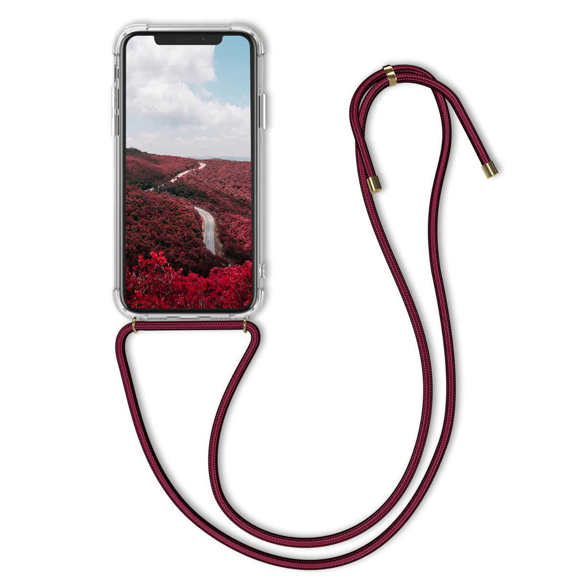 Kvalitní silikonové TPU pouzdro pro Apple iPhone X - Transparent | Dark Red