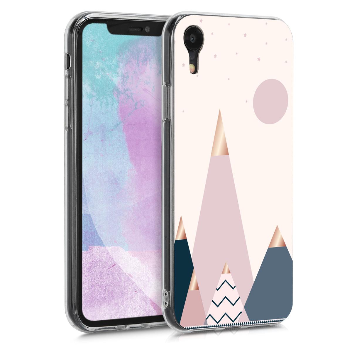 Kvalitní silikonové TPU pouzdro pro Apple iPhone XR - Měsíc a hory Rose Gold | Modrá | světle růžová