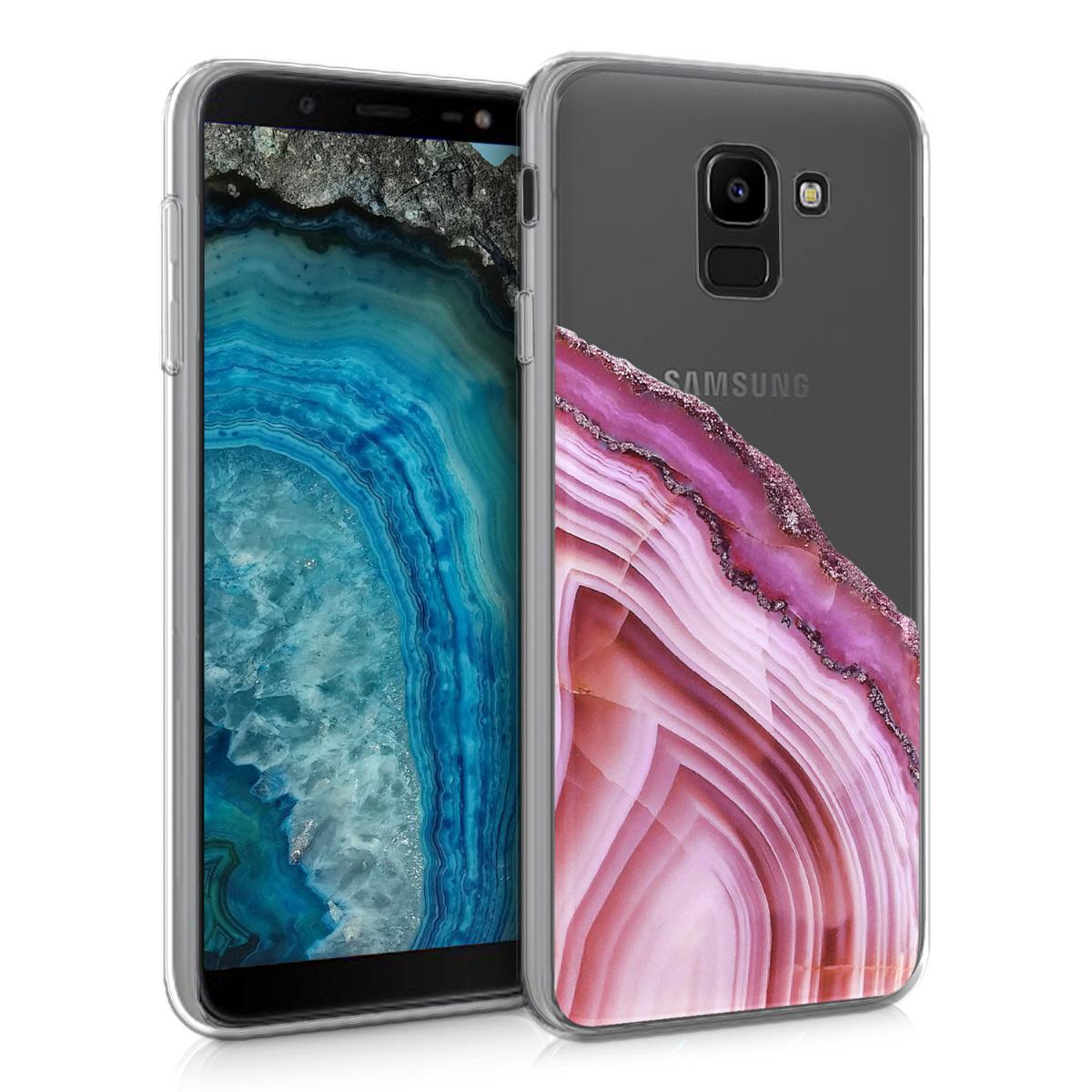Kvalitní silikonové TPU pouzdro pro Samsung J6 - Achát kámen tmavě růžová / Dusty růžové / transparentní